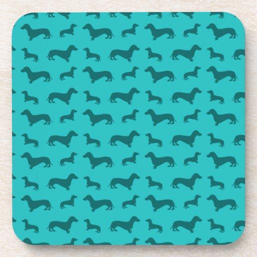 Cute Turquoise Dachshund Pattern Coaster Zazzle