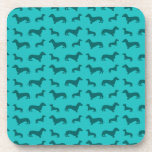 Cute turquoise dachshund pattern coasters