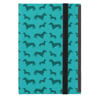 Cute turquoise dachshund pattern cover for iPad mini