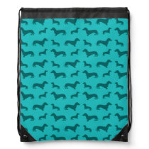 Cute turquoise dachshund pattern drawstring bag
