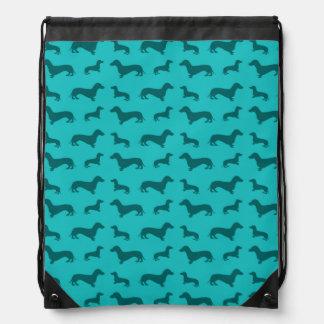 Cute turquoise dachshund pattern drawstring bag