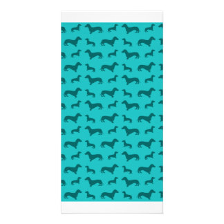 Cute turquoise dachshund pattern photo card template