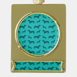 Cute turquoise dachshund pattern gold plated banner ornament