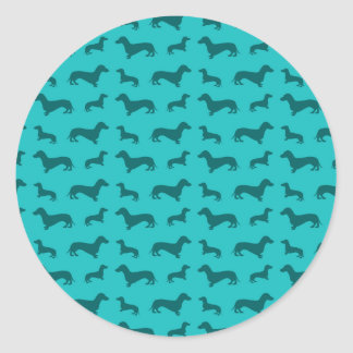 Cute turquoise dachshund pattern stickers