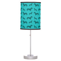 Cute turquoise dachshund pattern table lamp