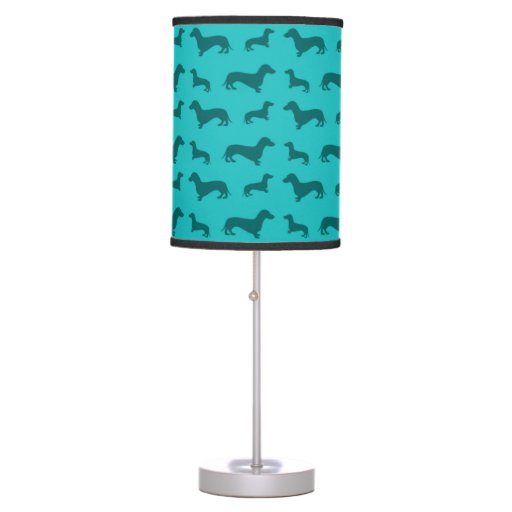 Cute turquoise dachshund pattern table lamp zazzle - Dachshund lamp ...