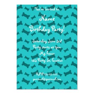 Cute turquoise dog bones pattern 5x7 paper invitation card