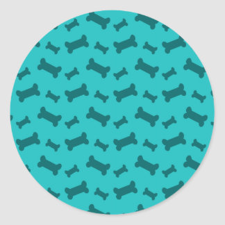 Cute turquoise dog bones pattern classic round sticker
