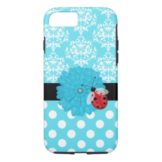 Cute Turquoise Floral with Ladybug iPhone 7 case