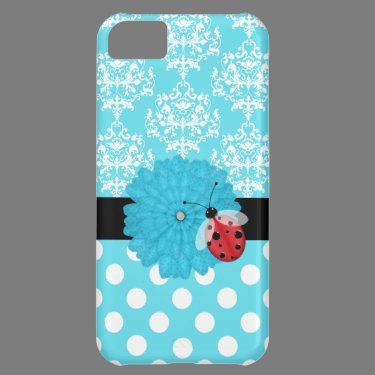 Cute Turquoise Floral with Ladybug iPhone Case iPhone 5C Case