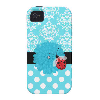 Cute Turquoise Floral with Ladybug iPhone Case iPhone 4/4S Cover