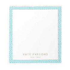 Cute Turquoise Lattice Pattern Notepad at Zazzle