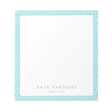 sm_business_cards Cute Turquoise Lattice Pattern Notepad