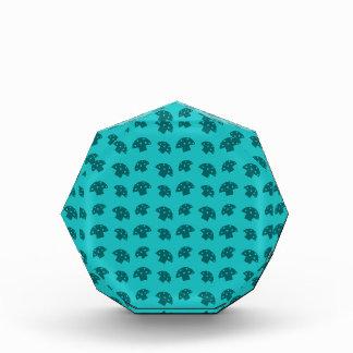 Cute turquoise mushroom pattern awards