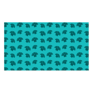 Cute turquoise mushroom pattern business cards