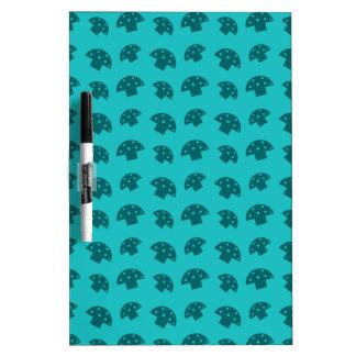 Cute turquoise mushroom pattern dry erase board
