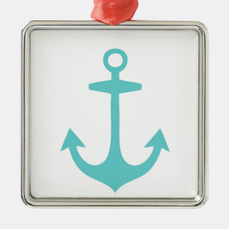 Cute Turquoise Nautical Design Metal Ornament