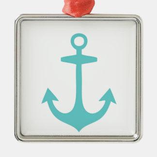 Cute Turquoise Nautical Design Square Metal Christmas Ornament