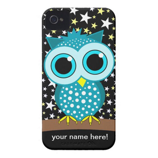 cute turquoise owl iPhone 4 cases