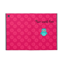 Cute Turquoise owl pink flowers Covers For iPad Mini