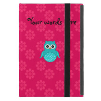 Cute Turquoise owl pink flowers iPad Mini Cover