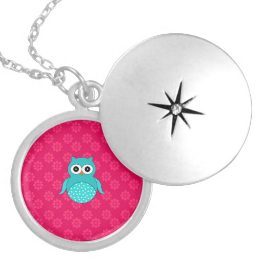 Cute Turquoise owl pink flowers Pendant
