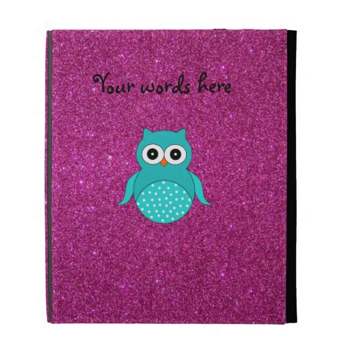 Cute turquoise owl pink glitter iPad cases