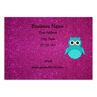 Cute turquoise owl pink glitter large business card