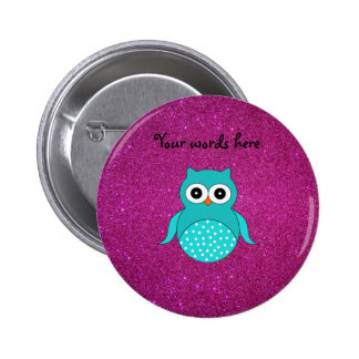 Cute turquoise owl pink glitter pinback button