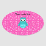 Cute turquoise owl pink hearts oval sticker
