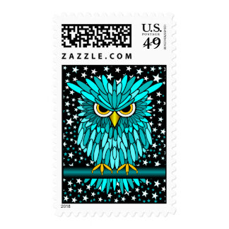 cute turquoise owl stamp