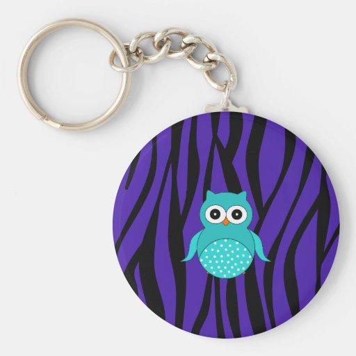 Cute turquoise owl purple zebra stripes key chains