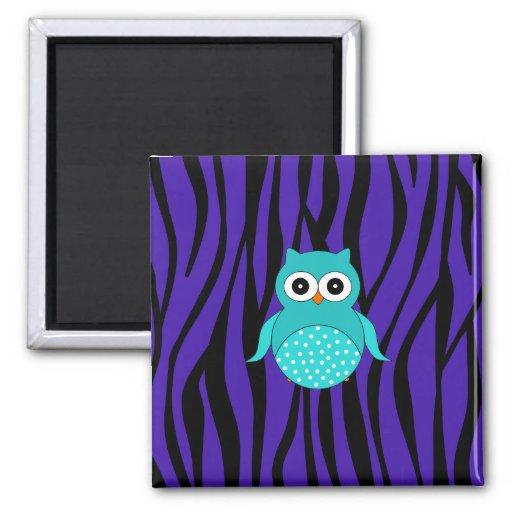 Cute turquoise owl purple zebra stripes magnets