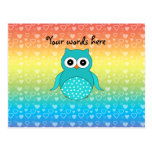 Cute turquoise owl rainbow hearts post cards