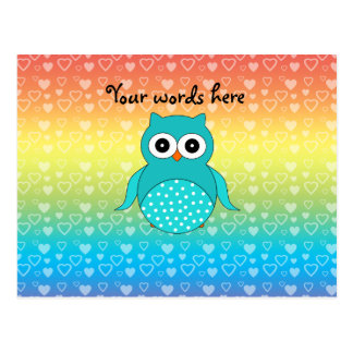 Cute turquoise owl rainbow hearts postcard