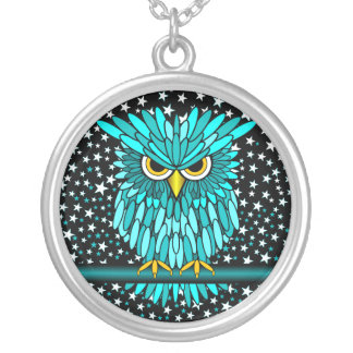 cute turquoise owl round pendant necklace