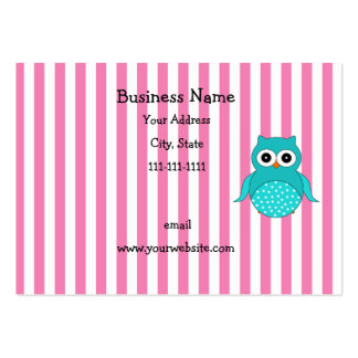 Cute turquoise owl stripes large business card
