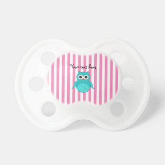 Cute turquoise owls pink white stripes pacifier