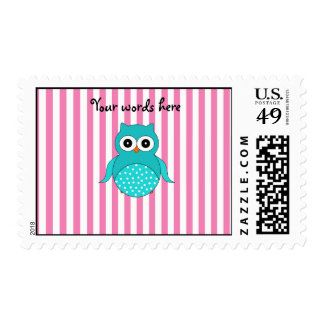 Cute turquoise owls pink white stripes postage stamp