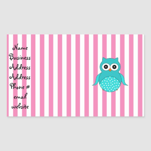 Cute turquoise owls pink white stripes rectangle sticker