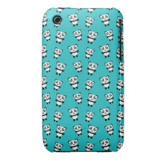 Cute turquoise panda pattern iPhone 3 cases