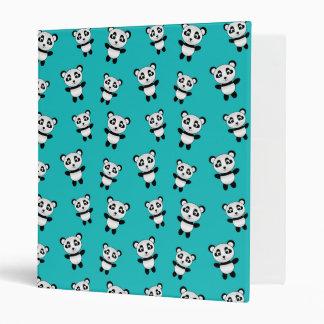 Cute turquoise panda pattern vinyl binder