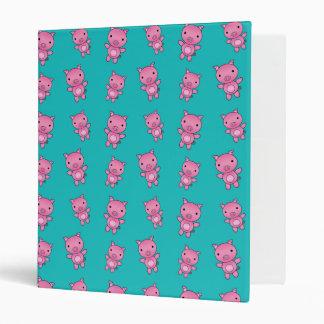 Cute turquoise pig pattern binders