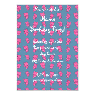 Cute turquoise pig pattern 5x7 paper invitation card