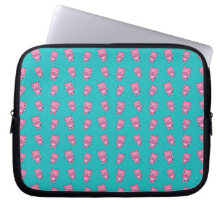 Cute turquoise pig pattern laptop sleeve