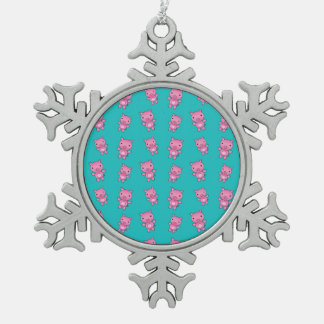 Cute turquoise pig pattern snowflake pewter christmas ornament