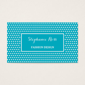 Cute Turquoise Polka Dot Girly Fashion Designer Business Card