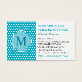 Cute Turquoise Polka Dots With Girly Monogram Business Card
