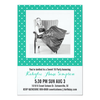 Cute Turquoise Polkadots Photo Sweet 16 Party Card