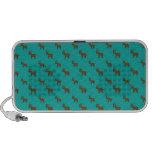 Cute turquoise reindeer pattern iPod speakers